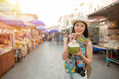 Famous female blogger going to Thailand travel royalty free stock images