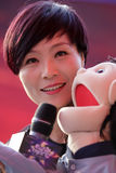 Famous female singer zhouyan ventriloquist show Royalty Free Stock Photos