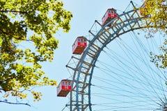 Famous Ferris Wheel of Vienna. Prater park called Wurstelprater Stock Photo