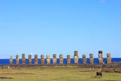 The famous fifteen moai at Ahu Tongariki, Easter Island Royalty Free Stock Image