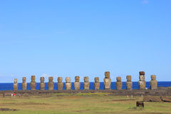 The famous fifteen moai at Ahu Tongariki, Easter Island Royalty Free Stock Photos