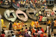 The famous fire ritual and procession in Varanasi, attracting to royalty free stock image