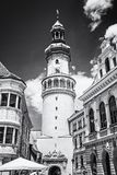 Famous Fire tower in Sopron, Hungary, colorless. Famous Fire tower in Sopron, Hungary. Travel destination. Architectural theme. Black and white photo royalty free stock photos