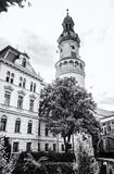 Famous Fire tower in Sopron, Hungary, colorless. Famous Fire tower in Sopron, Hungary. Travel destination. Architectural theme. Black and white photo stock image