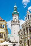 Famous Fire tower in Sopron, Hungary. Travel destination. Architectural theme Stock Photography