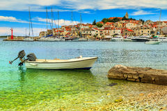 Famous fishing village panorama,Primosten,Dalmatia,Croatia,Europe Royalty Free Stock Photo