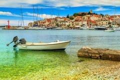 Famous fishing village panorama,Primosten,Dalmatia,Croatia,Europe Royalty Free Stock Photo