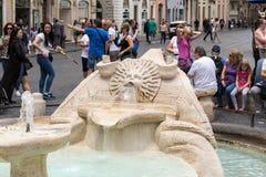 The famous Fontana della Barcaccia, near Spanish steps. Rome. Royalty Free Stock Photos