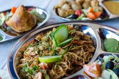 Great Tibetan an Nepalese food, Chowmein. Stock Photos