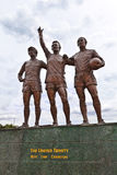 Famous footballers statue at the Manchester United Stock Image