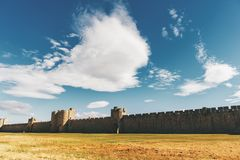 Famous fortification wall surrounding Aigues-Mortes Stock Photo