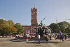 Famous fountain on Alexanderplatz in Berlin, Germany Royalty Free Stock Image
