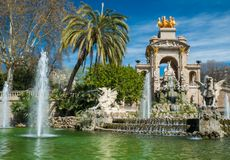 Famous fountain in Barcelona Stock Images