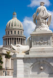Famous fountain and the Capitol of Havana Royalty Free Stock Image