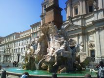 The fountain of the Four Rivers is one of the most famous fountains in Rome. Located in Piazza Navona Stock Photo