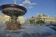 The famous fountain in front of Bolshoi theatre in Central Moscow. The fountain in front of Bolshoi theatre , Moscow Sights Royalty Free Stock Photo