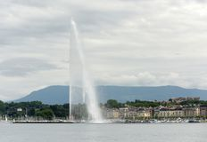 Famous fountain Jet d`Eau in Geneva, Switzerland royalty free stock images