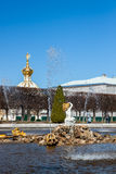 Famous fountain park. Is located in St. Petersburg, Russia Stock Photo