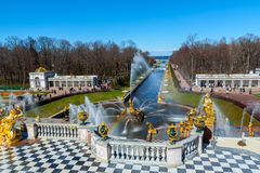 Famous fountain park. Is located in St. Petersburg, Russia Stock Image