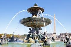 Famous fountain Place de la Concorde, Paris, france, Obelisk of Royalty Free Stock Photography