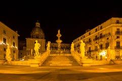 Fountain of shame on  Piazza Pretoria at night, Palermo, Italy. Famous fountain of shame on baroque Piazza Pretoria at night, Palermo, Italy Royalty Free Stock Photos