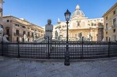 Fountain of shame on  Piazza Pretoria, Palermo, Italy. Famous fountain of shame on baroque Piazza Pretoria, Palermo, Italy Royalty Free Stock Photography
