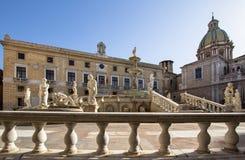 Fountain of shame on  Piazza Pretoria, Palermo, Italy. Famous fountain of shame on baroque Piazza Pretoria, Palermo, Italy Royalty Free Stock Photos