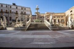 Fountain of shame on  Piazza Pretoria, Palermo, Italy. Famous fountain of shame on baroque Piazza Pretoria, Palermo, Italy Stock Photos