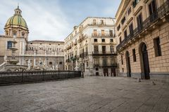 Famous fountain of shame on baroque Piazza Pretoria, Palermo, Si Royalty Free Stock Image