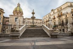 Famous fountain of shame on baroque Piazza Pretoria, Palermo, Si Stock Images