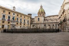 Famous fountain of shame on baroque Piazza Pretoria, Palermo, Si. Cily, Italy Royalty Free Stock Photography