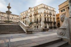 Famous fountain of shame on baroque Piazza Pretoria, Palermo, Si Stock Photos