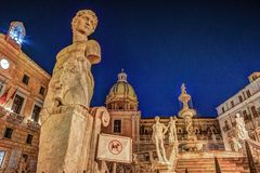 Famous fountain of shame on baroque Piazza Pretoria, Palermo, Sicily. Beautiful sculpture of the famous fountain of shame on baroque Piazza Pretoria, Palermo Royalty Free Stock Image