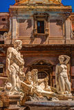 Famous fountain of shame on baroque Piazza Pretoria, Palermo, Sicily Royalty Free Stock Photography