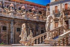 Famous fountain of shame on baroque Piazza Pretoria, Palermo, Sicily Stock Image