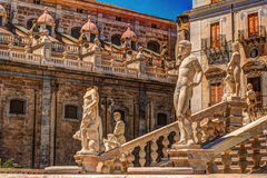 Famous fountain of shame on baroque Piazza Pretoria, Palermo, Sicily. Beautiful sculpture of the famous fountain of shame on baroque Piazza Pretoria, Palermo Stock Images