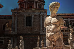 Famous fountain of shame on baroque Piazza Pretoria, Palermo, Sicily Stock Photography
