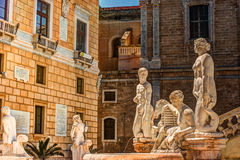 Famous fountain of shame on baroque Piazza Pretoria, Palermo, Sicily. Beautiful sculpture of the famous fountain of shame on baroque Piazza Pretoria, Palermo Stock Photo