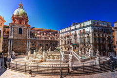 Famous fountain of shame on baroque Piazza Pretoria, Palermo, Sicily Royalty Free Stock Photos