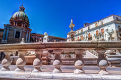 Famous fountain of shame on baroque Piazza Pretoria, Palermo, Sicily Stock Images