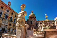 Famous fountain of shame on baroque Piazza Pretoria, Palermo, Sicily Royalty Free Stock Photo