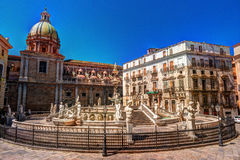 Famous fountain of shame on baroque Piazza Pretoria, Palermo, Sicily Royalty Free Stock Image