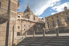Famous fountain of shame on baroque Piazza Pretoria, Palermo, Si Royalty Free Stock Photo