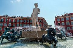 Famous Fountain of the Sun in Place Massena in Nice, France stock photos