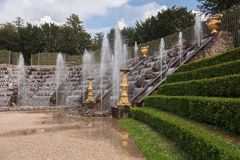 Famous fountains in the park of Versailles Palace Stock Photography