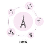 Famous France Symbols Doodle Vector Concept. Attractive France. Eiffel tower doodle surrounded fashion shoes, heart balloons, shopping bag, bakery sweets hand Stock Images