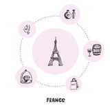 Famous France Symbols Doodle Vector Concept Royalty Free Stock Image