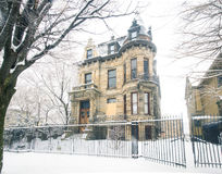The famous Franklin Castle in Cleveland Ohio during winter Royalty Free Stock Images
