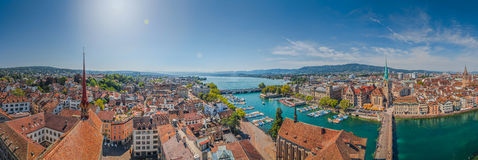 Famous Fraumunster Church and river Limmat at Lake Zurich, Switzerland Stock Photos