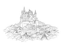 Fairy Tale Medieval Castle Line Drawing Stock Illustration